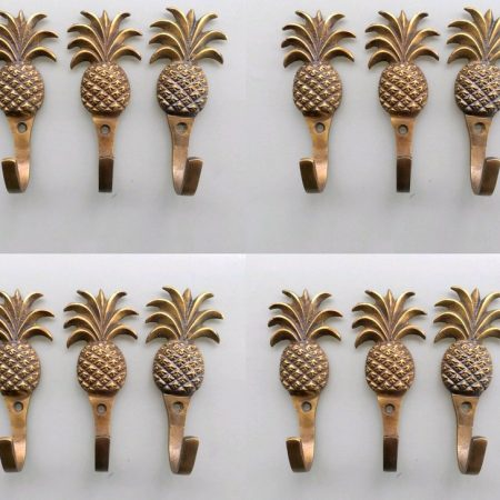 "12 PINEAPPLE COAT HOOKS 4"" small solid brass aged antiques vintage old style 100mm hook 10 cm bronze patina"