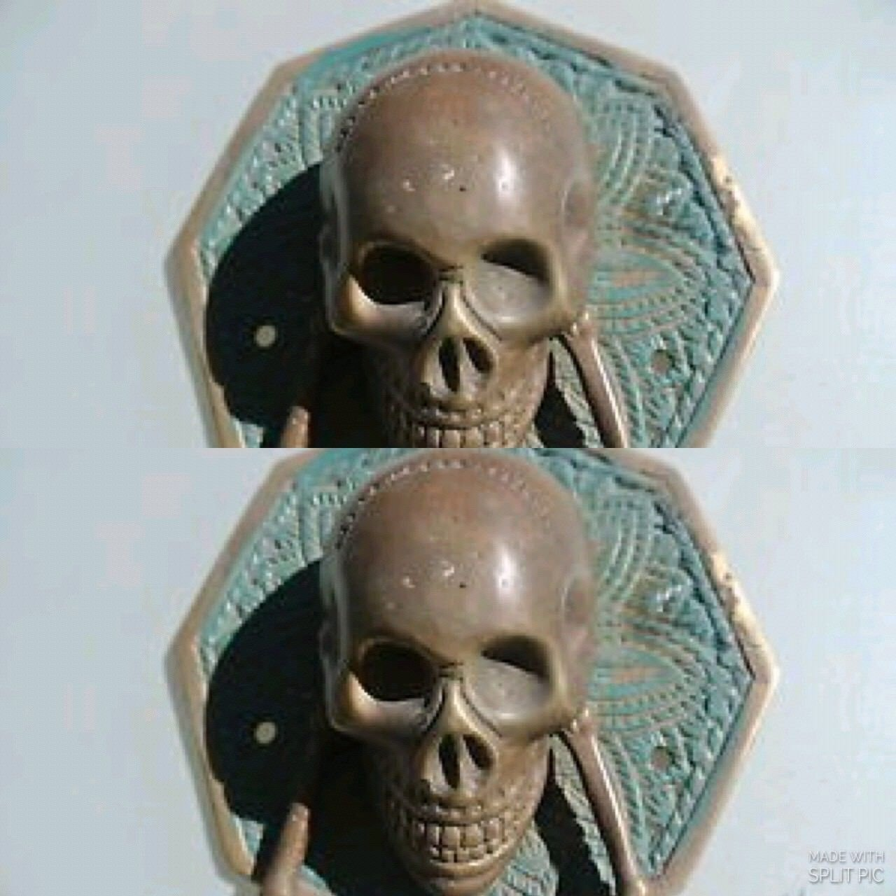 2 Large Skull Head Ring Pull Handle Pure Brass 4 Day Of The Dead Door Knocker Knocker Bronze Art Scary Decoration Interior Design Watson Brass Javanese Handicrafts Accessories