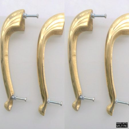 4 heavy pulls handles 16.5 cm DOOR antique solid brass vintage DECO old replace drawer heavy polished