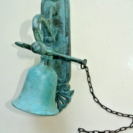 "BELL front door heavy Vintage style 8.1/2 ""antique look solid brass aged Chain nice sound antique green seaside oxidized patina"