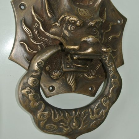 "large Solid foo dragon heavy 14 cm wide pure Brass Door Knocker 8"" long Chinese dog Head ring pull in mouth Vintage Front Door Knocker Door Decor"