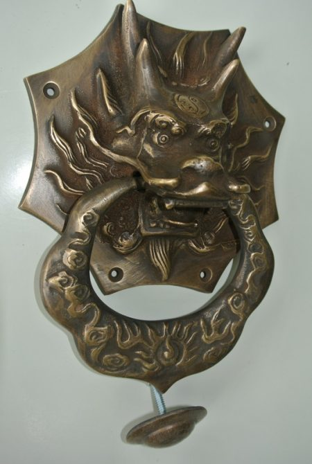 "large Solid foo dragon heavy 14 cm wide pure Brass Door Knocker 8"" long Chinese dog Head ring pull in mouth Vintage Front Door Knocker Door Decor"