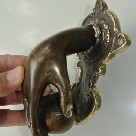 """rustic small hand fist ball front Door Knocker hand 6.1/2"""" inches long fingers solid brass hollow 16 cm vintage old style aged hinged banger"""