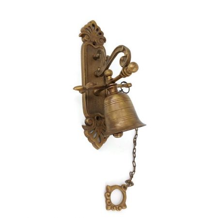 Front Door Bell pull chain solid aged brass old vintage style 21.5 cm hang screws outdoor vintage old style antique age hand made bronze patina