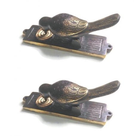 "2 small light BIRD pull Handle solid hollow BRASS 6"" plate KNOCKER pecking hinge Front Door Knock banger Decor"