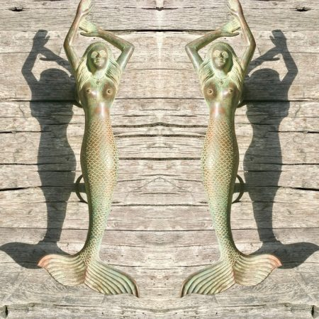 """2 large MERMAID antique oxidized seaside green patina solid brass door PULL old style heavy house PULL handle 15"""" aged PAIR"""