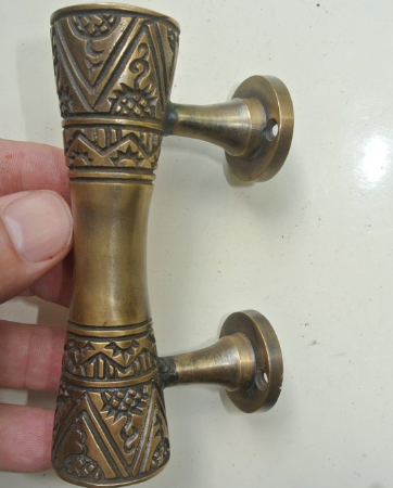 """2 amazing 4.1/2 """" small engraved solid brass 12 cm hollow aged door handles old style heavy house PULL grab gate hand made cabinet pull bronze patina"""