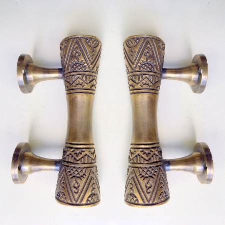 "2 amazing 4.1/2 "" small engraved solid brass 12 cm hollow aged door handles old style heavy house PULL grab gate hand made cabinet pull bronze patina"