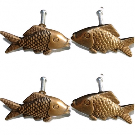 """8 aged ANTIQUE old style FISH Cabinet Door solid pure Brass knob Drawer Pull 2"""" Bronze natural aged oxidized patina"""