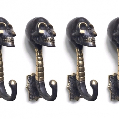 "2 dark medium 5 "" inches antique aged bronze style SKULL HOOKS solid pure BRASS hollow old style 13.5 cm long spine hand made hanger B"