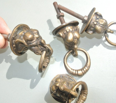 4 small ELEPHANT pulls handles antique solid brass vintage drawer knobs ring 36 mm knob heavy real bronze patina