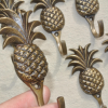 """8 PINEAPPLE COAT HOOKS 4"""" small solid brass aged antiques vintage old style 100mm hook 10 cm bronze patina"""