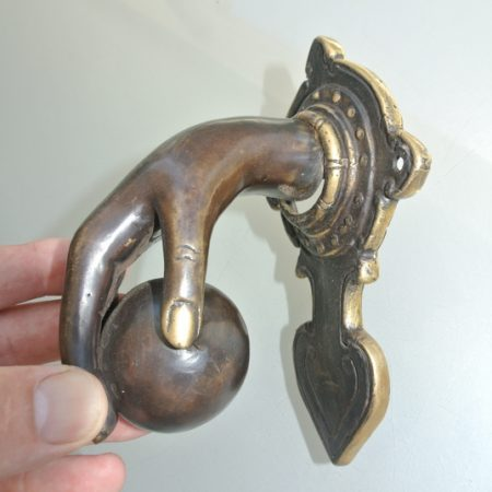 """small hand fist ball front Door Knocker hand 6.1/2"""" inches long fingers solid pure brass hollow 16 cm vintage old style aged hinged pull banger bronze natural oxidized patina"""