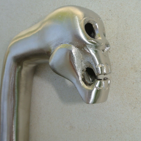"brass crutch SKULL head WALKING STICK hand Made end only 2 parts handle SILVER PLATED 5"" day of the dead (Copy)"