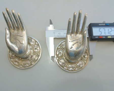 """2 used small Buddha Pulls hooks knob handle Fingers silver brass door old style open HAND knobs back plate 2.1/4"""""""