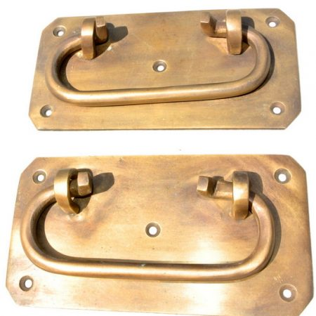 "2 large BOX HANDLES 13 cm chest brass trunk old age style 5"" solid BRASS natural bronze patina blanket gate door barn pulls lift lock"
