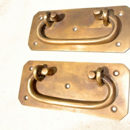 """2 large BOX HANDLES 13 cm chest brass trunk old age style 5"""" solid BRASS natural bronze patina blanket gate door barn pulls lift lock"""