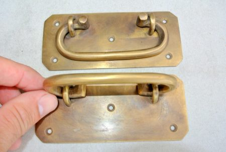 """2 large BOX HANDLES 13 cm 57 mm wide chest brass trunk old age style 5"""" solid BRASS natural bronze patina blanket gate door barn pulls lift lock"""