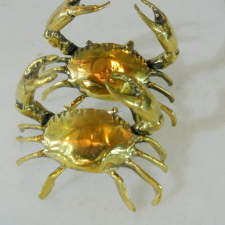 "2 tiny small MUD CRAB solid brass polished brass claws claws blue swimmer 3"" old looking statue hand made (Copy)"