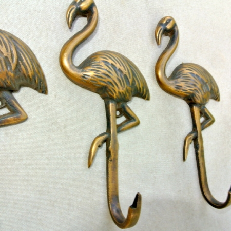 """4 FLAMINGO hooks 5.1/2 """" long aged solid real heavy BRASS old vintage style natural brone patina hand made heavy 13 cm hanger screw bird"""