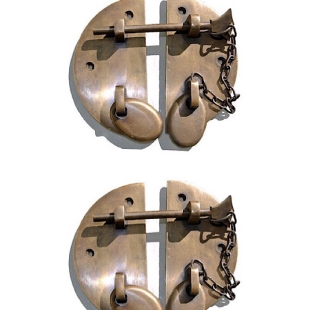 """2 large heavy round HASP & STAPLE 4.1/2"""" chain bolt OVAL catch latch box door solid pure brass 11 cm vintage style antiques retro box trunk"""