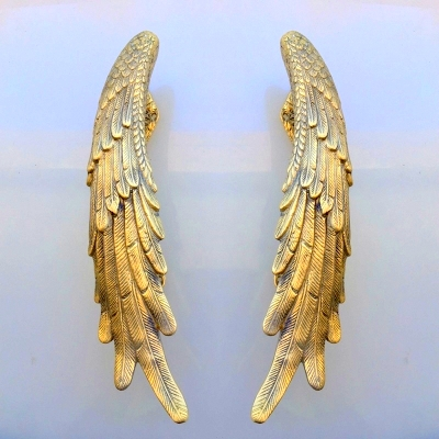 2 ANGEL WING hollow solid brass SILVER PLATED door PULL old style house PULL handle 33cm wings natural aged patina