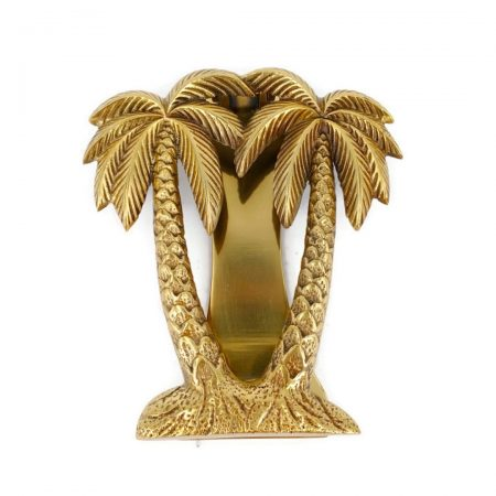 "PALM TREE cast solid 100 % BRASS hand made 15 cm DOOR KNOCKER 6"" heavy bronze patina hand made cast heavy polished brass"