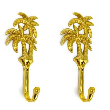 "2 medium Palm tree HOOK 6 "" long aged POLISHED solid 100% real heavy BRASS 15 cm long tropical old vintage style natural hand made heavy hanger screw"
