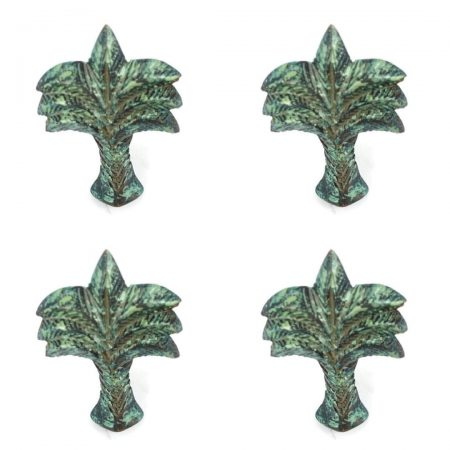 "4 small aged green patina seaside beach bronze patina 2.1/2"" palm tree knobs 6 cm small solid brass antiques vintage old style 60 mm"