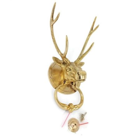 POLISHED Large heavy DEER ANTELOPE front Door Knocker SOLID BRASS old style house Stunning very heavy pure brass vintage style old look