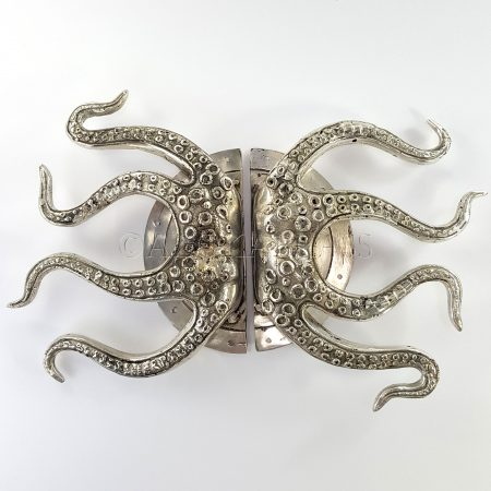 "pair OCTOPUS Solid Brass hollow hand SILVER PLATED100% brass Door PULL HANDLE 15"" aged old look 28 cm very heavy vintage antique style barn door grab (Copy)"