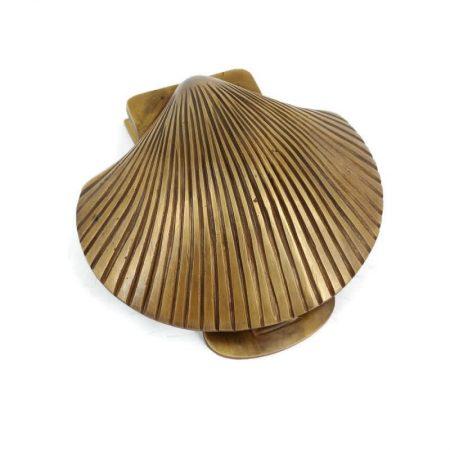 "SCALLOP SHELL cast solid 100 % BRASS hand made 14cm DOOR KNOCKER 5./2"" heavy bronze patina hand made cast heavy antique brass"
