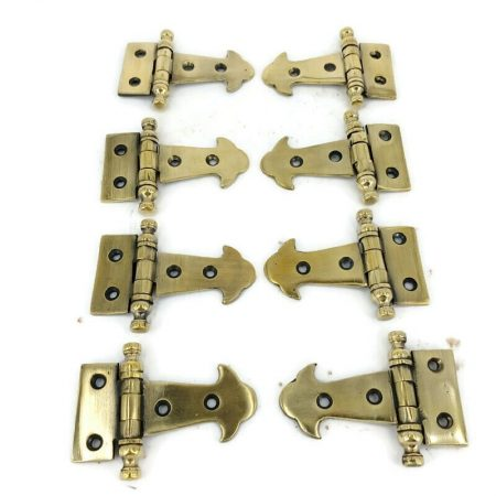 "8 small cute Finial Small Door Box Hinges old Style Solid cast Antique Brass 6.3 cm 2.1/2"" inches long"