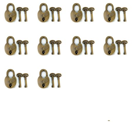 10 pieces 10 long shank locks watson brass code 100 long throw Padlock Vintage stye antique look solid heavy brass aged 20 keys lock works long neck 3 ""