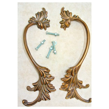 """2 old look french style pulls handles pair heavy solid brass vintage style doors 8"""""""