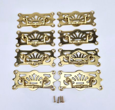 """8 heavy pulls handles POLISHED large BOX watson A3 antique solid brass vintage old replace drawer heavy 4 """" (Copy)"""